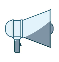 Blue shading silhouette of megaphone icon vector