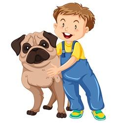 Boy hugging pet dog vector image