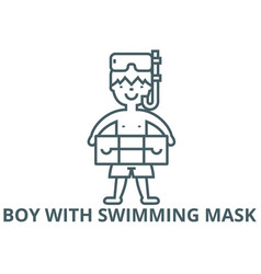 boy with swimming mask line icon boy with vector image