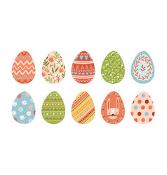 bundle decorated easter eggs isolated on white vector image