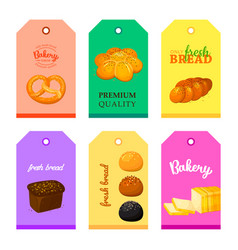 cards shop bakery with breads set vector image