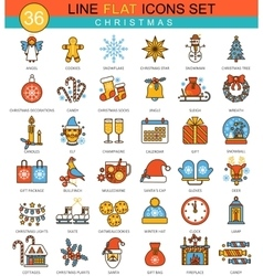 Christmas and happy New Year flat line icon vector image