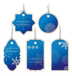 christmas blue nad winter price tags vector image