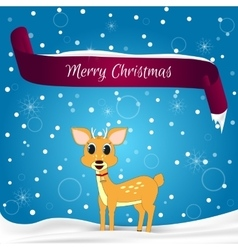 Christmas card done in blue with snowflakes red vector image