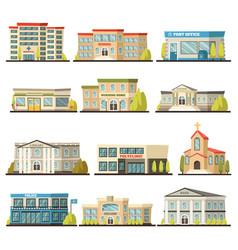 Colored municipal buildings icon set vector