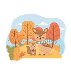 cute animal autumn season flat design vector image