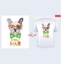 cute bulldog dog t-shirt print design cool puppy vector image