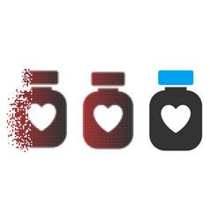 Dispersed pixel halftone favorite medication icon vector