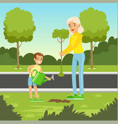 eco nature background with mom and son planting a vector image