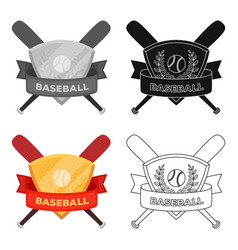Emblem baseball single icon in cartoon style vector