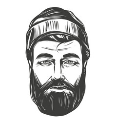 face a bearded man in a hat hand drawn vector image