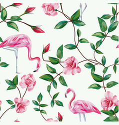 flamingo and branch roses seamless white vector image