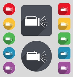 flashlight icon sign A set of 12 colored buttons vector image