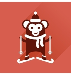 Flat icon with long shadow monkey skiing vector