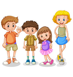 four happy kids standing on white background vector image