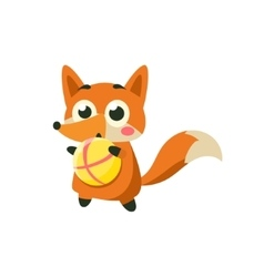 Fox playing ball vector