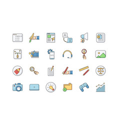 Freelance professions elements rgb color icons set vector