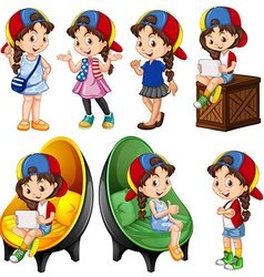 Girl in different actions vector image