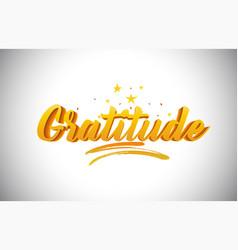 Gratitude golden yellow word text vector