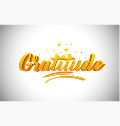 Gratitude golden yellow word text with vector