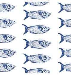 Hand drawn fish seamless vector