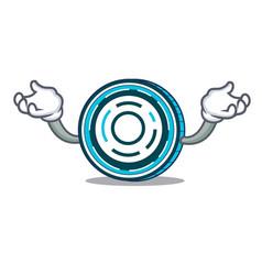 Hand up aion coin character cartoon vector