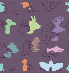 Hands gesture like different animals seamless vector