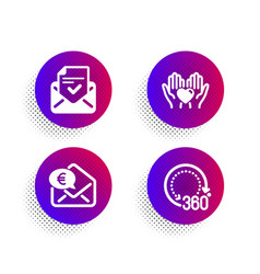 hold heart euro money and approved mail icons set vector image