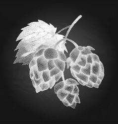 hop branch in stippling technique vector image