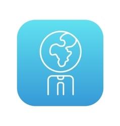 Human with globe head line icon vector image