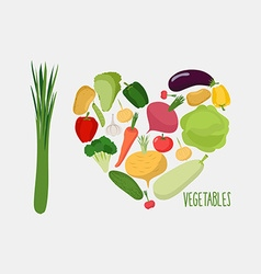 I love vegetables Heart of vegetables healthy food vector image