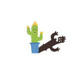 Informative flyer small flowering cactus shadow vector
