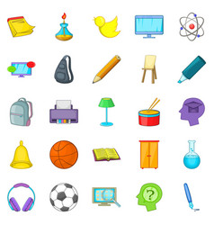Instruction icons set cartoon style vector