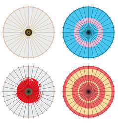 japanese umbrella set vector image