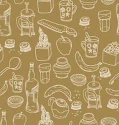 Kitchen stuff seamless pattern vector