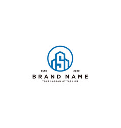 Letter s and building logo design vector