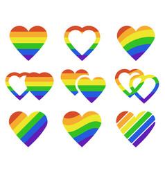 lgbtq rainbow hearts pride month lgbtq parade vector image