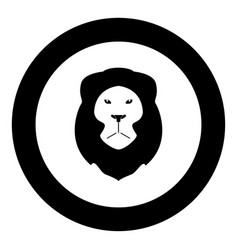 lion head icon black color in circle or round vector image