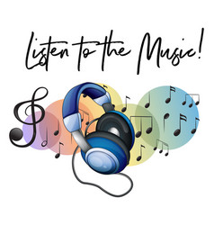 Listen to the music phrase and headphone in vector