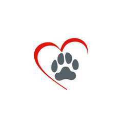 Love dog foot step logo vector