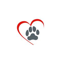love dog foot step logo vector image