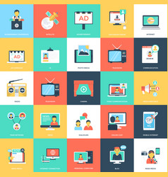 Media and advertising flat icons vector