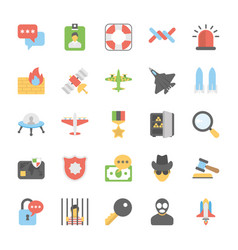 Military and weapons icons set vector