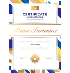 modern luxury certificate completion template vector image