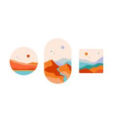 Mountain abstract landscape art print minimalist vector