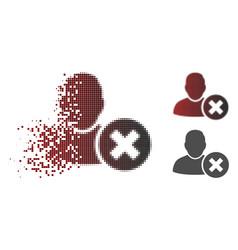 moving pixelated halftone delete user icon vector image