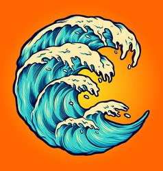 ocean wave beach crashing vector image