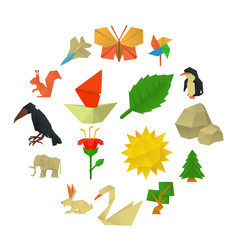 origami craft icons set cartoon style vector image