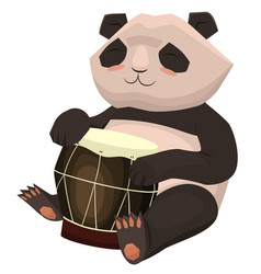 panda plays drum cartoon image isolated vector image