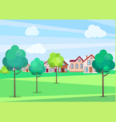 Park trees in summer with buildings on background vector